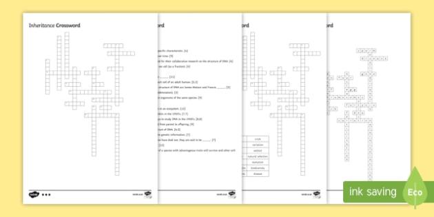 KS3 Inheritance Crossword