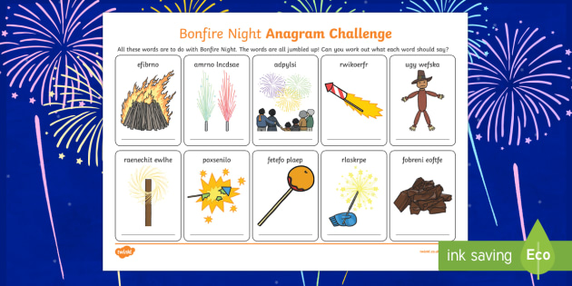 Bonfire Night Anagram Activity