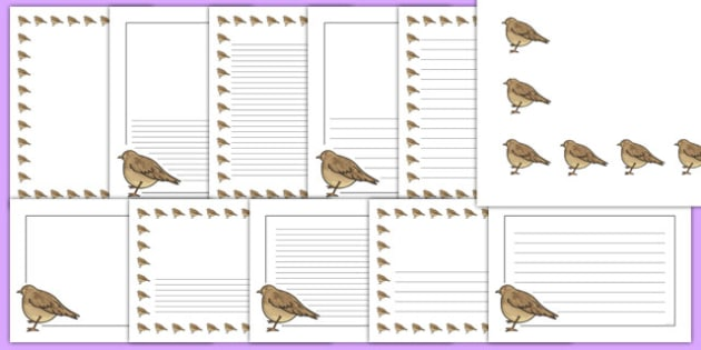 Skylark Themed Page Borders - skylark, page borders, writing frame, bird, class