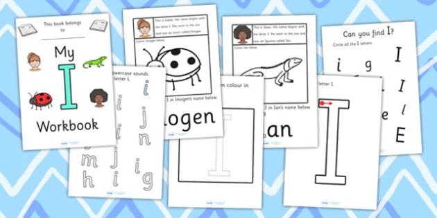My Workbook I uppercase - workbook, I sound, uppercase, letters, alphabet, activity, handwriting, writing