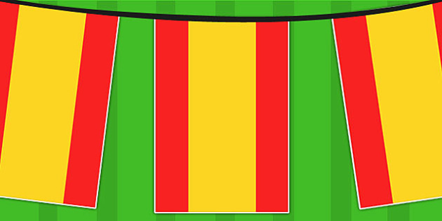 Spain A4 Flag Bunting - countries, geography, flags, country