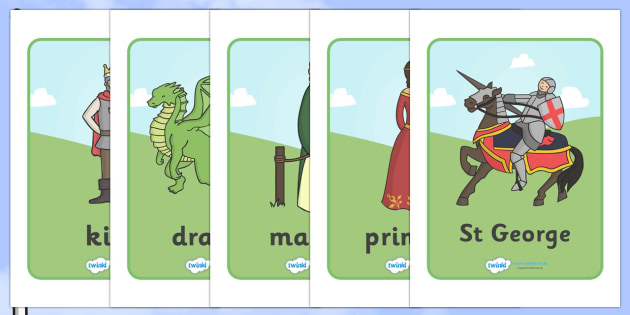St George And The Dragon Display Posters - St George, princess, maiden, dragon, Margaret Hodges, king, display, banner, poster, sign, story book, book, book resources, story