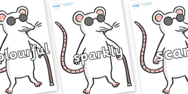 Wow Words on Blind Mice - Wow words, adjectives, VCOP, describing, Wow, display, poster, wow display, tasty, scary, ugly, beautiful, colourful sharp, bouncy