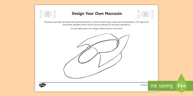 Native Americans Design Your Own Moccasin Activity Sheet-Scottish - Native Americans, design challenge, footwear, moccasins ,Scottish, worksheet