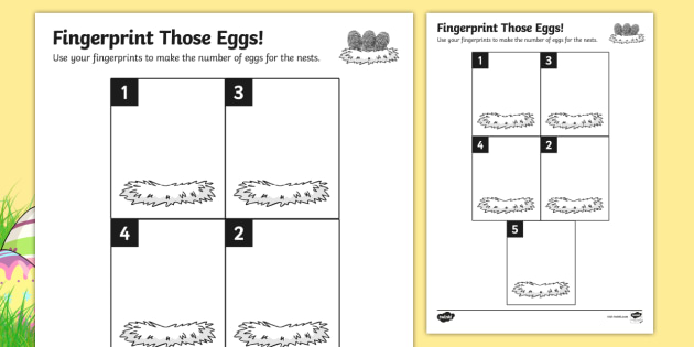 Egg Fingerprint Counting to 5 Activity Sheet - counting, activity, worksheet