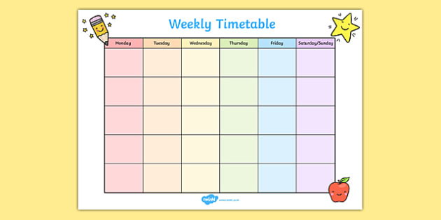 Weekly Timetable - Weekly, Time Table, Time Management, Class