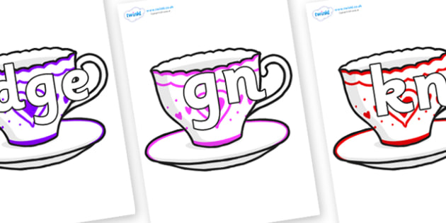 Silent Letters on Cups and Saucers - Silent Letters, silent letter, letter blend, consonant, consonants, digraph, trigraph, A-Z letters, literacy, alphabet, letters, alternative sounds