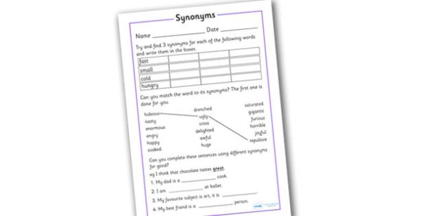 Synonym Activity Worksheet - synonym activity worksheet, synonyms, worksheet, synonym, synonyms, the same, syn, similar, same, meaning