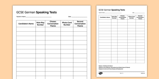 GCSE German Speaking Test Sequence Template - GCSE, Speaking, Exam, Test, Admin, Template