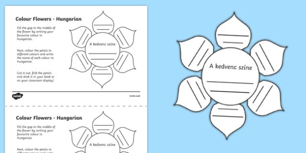 MFL Hungarian Colour Flowers Activity Sheet, worksheet