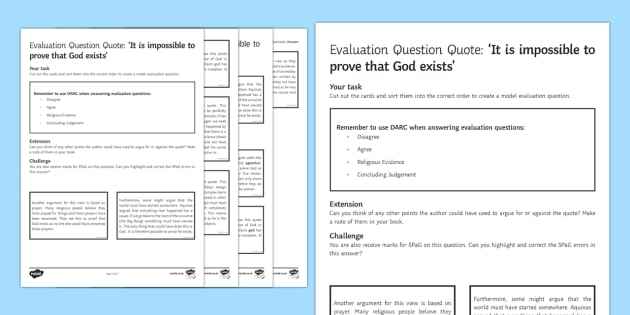 Existence of God Exam Technique Sorting Cards