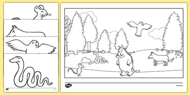 The Gruffalo Colouring Sheets - education, home school, free, fun