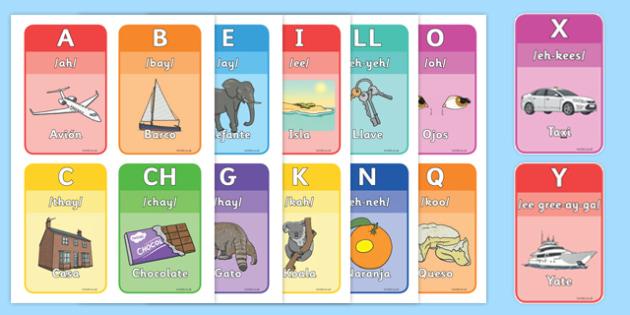 Spanish Alphabet Flashcards - spanish, alphabet, flashcards, language, activity