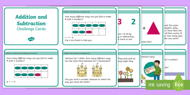 PlanIt Y1 Addition and Subtraction Challenge Cards - addition, subtraction, challenge, y1, open-ended, add, subract, take away, word problems, problem so