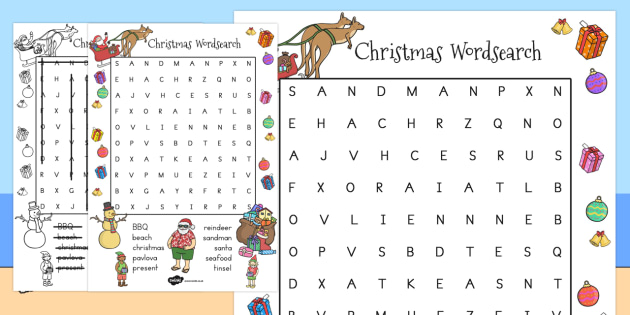 Australian Christmas Wordsearch - australia, christmas, words