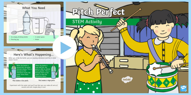 Pitch Perfect PowerPoint - Make a Noise!, sound, vibration, KS1, pitch, high, low.