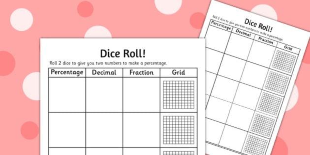 Equivalent Fraction Dice Roll Activity Sheet - activity, sheet, worksheet