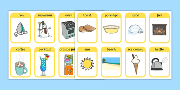Temperature Flash Cards - temperature, flash cards, flashcards, activity, hot, cold