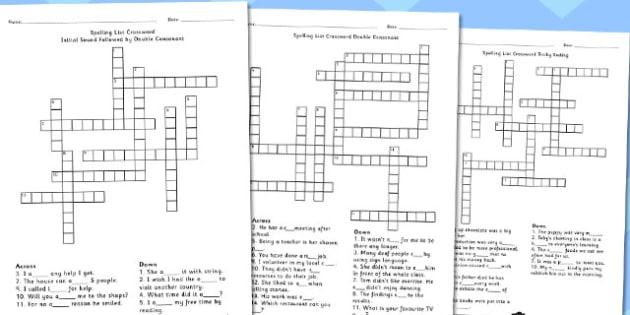 Year 5-6 Spelling List Crossword Pack - crossword, spelling, pack