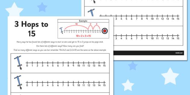 3 Hops to 15 Activity Sheet - number line, activity, 3 hops, 15, worksheet