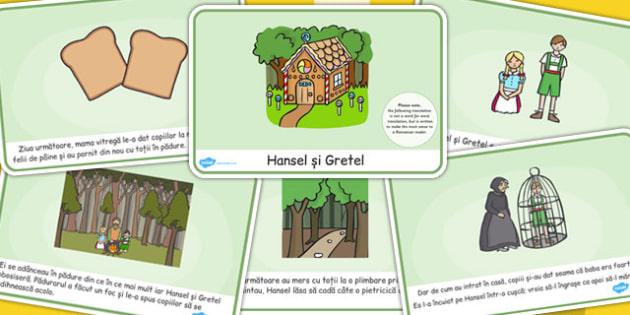 Hansel si Gretel, lectura, rezumat cu imagini, planse imprimabile, Romanian