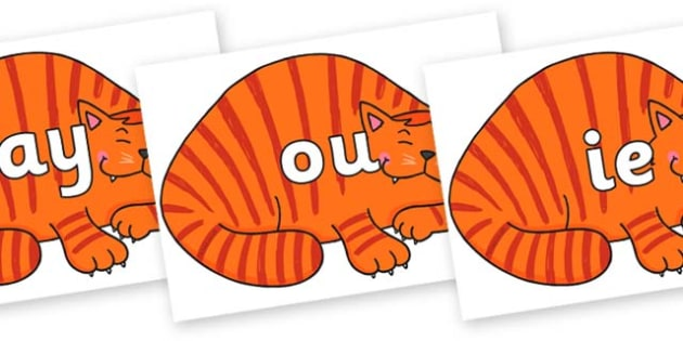 Phase 5 Phonemes on Hullabaloo Cat to Support Teaching on Farmyard Hullabaloo - Phonemes, phoneme, Phase 5, Phase five, Foundation, Literacy, Letters and Sounds, DfES, display
