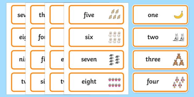 Number Word Cards - number, word, cards, numbers, word cards