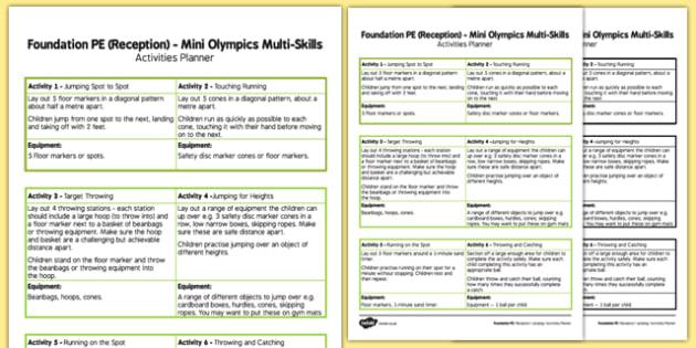 Foundation PE (Reception) Mini Olympics Multi-Skills Activities Planner - EYFS, PE, Physical Development