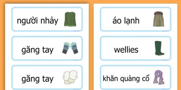 Winter Clothes Word Cards - winter clothes, word cards, winter, clothes - Vietnamese