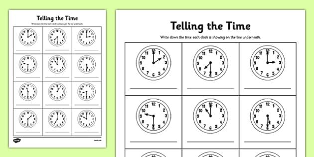 Half Past Time Worksheets - o\'clock, half past, times