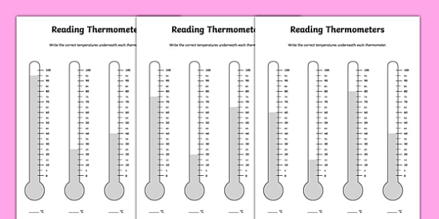Reading Thermometers Worksheet - thermometers, temperature, temperature worksheet, reading a thermometer, recording temperatures, science equipment, ks2