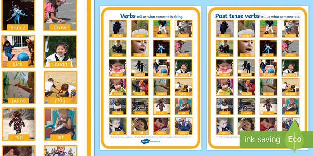 Verbs Photo Display Poster A4 - verbs, grammar, literacy, display