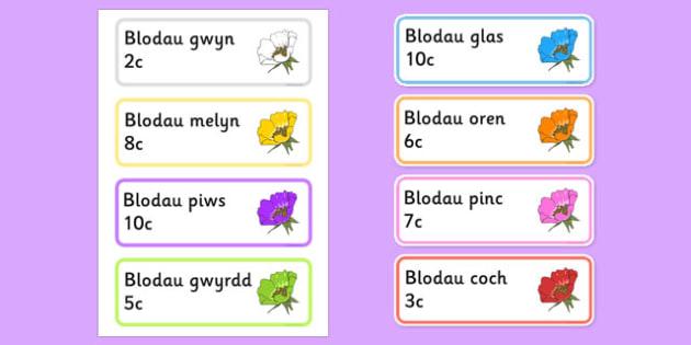 Labelau Blodau Y Ganolfan Arddio - welsh, cymraeg, blodau, canolfan, garddio, arddio, label