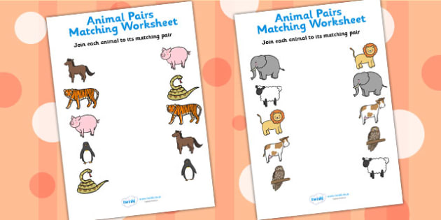 Animal Pairs Matching Worksheets - animals, matching, worksheets