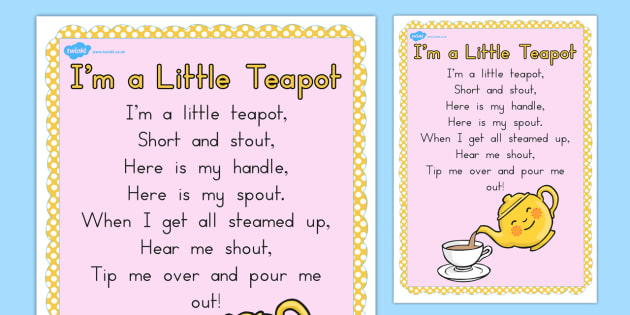 I'm a Little Teapot Nursery Rhyme Poster - Teapot, Nursery, A2