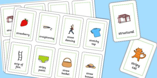 Three Syllable STR Flash Cards - sen, sound, str sound, str, three syllable, flash cards