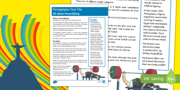 All About Powerlifting Rio Paralympics 2016 Fact File