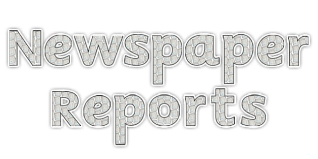 'Newspaper Reports' Display Lettering - newspaper reports, newspaper reports display lettering, newspaper display lettering, reports, reports display