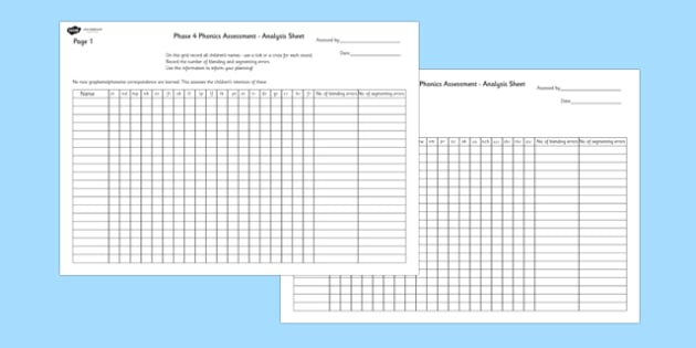 Phase 4 Phonics Letters and Sounds Analysis Sheet - phase 4, letters and sounds, DFE, phonics assessment, letters and sounds assessment, assessment sheet