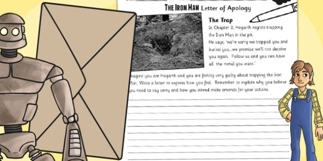 The Iron Man Hogarths Letter of Apology Writing Activity - write