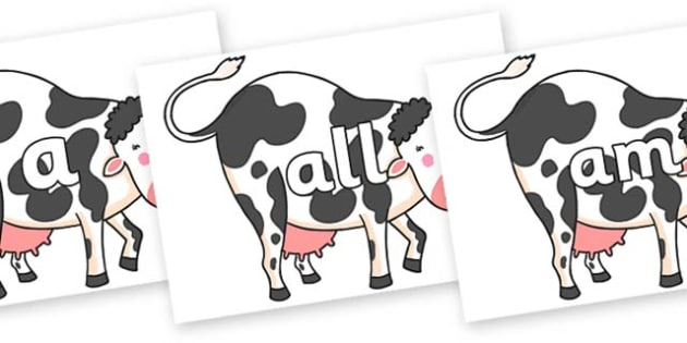 Foundation Stage 2 Keywords on Hullabaloo Cow to Support Teaching on Farmyard Hullabaloo - FS2, CLL, keywords, Communication language and literacy,  Display, Key words, high frequency words, foundation stage literacy, DfES Letters and Sounds, Letters
