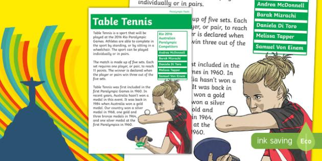 Rio Paralympics 2016 Table Tennis Display Poster