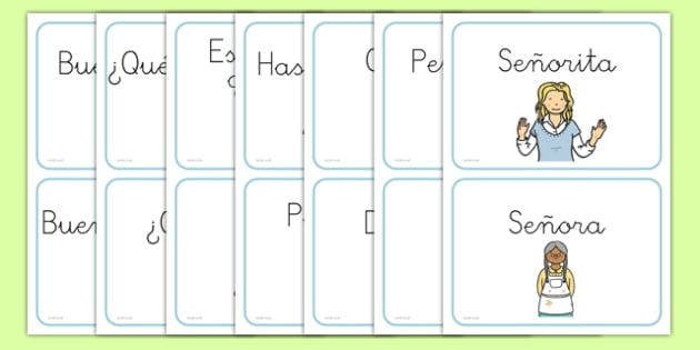 Greetings A5 Flashcards Spanish - spanish, greetings, a5, flashcards, flash cards, activity
