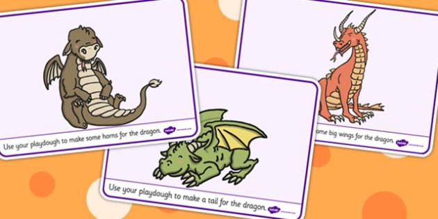 Dragon Playdough Mats - dragon, playdough mat, playdough, mat