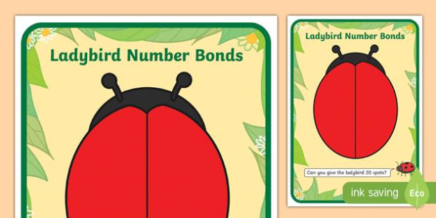 Number Bonds To Twenty Ladybird Playdough Mat - number bonds, twenty, ladybird, playdough mat