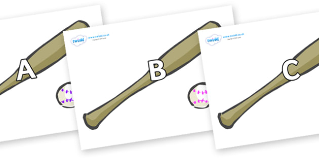 A-Z Alphabet on Bat and Ball - A-Z, A4, display, Alphabet frieze, Display letters, Letter posters, A-Z letters, Alphabet flashcards