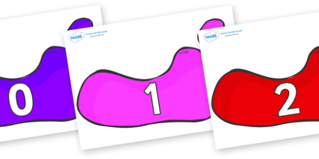 Numbers 0-31 on Footprints - 0-31, foundation stage numeracy, Number recognition, Number flashcards, counting, number frieze, Display numbers, number posters