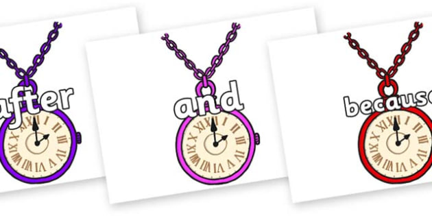 Connectives on Pocket Watches - Connectives, VCOP, connective resources, connectives display words, connective displays