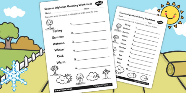Alphabet Ordering Worksheet Differentiated - seasons, a-z