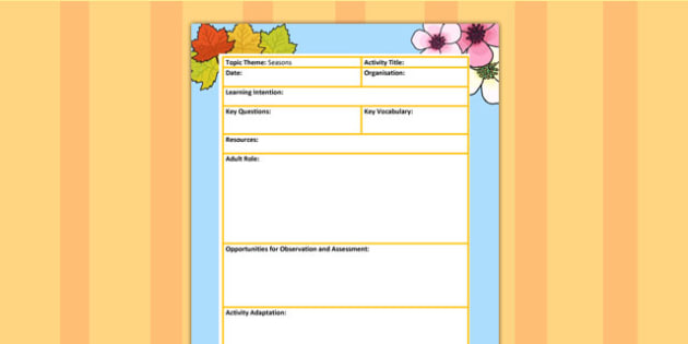 Seasons Themed Adult Led Focus Planning Template - weather, plan